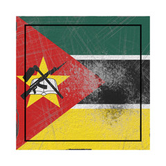 Mozambique flag in concrete square