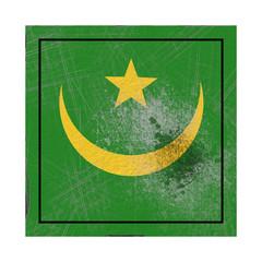 Mauritania flag in concrete square