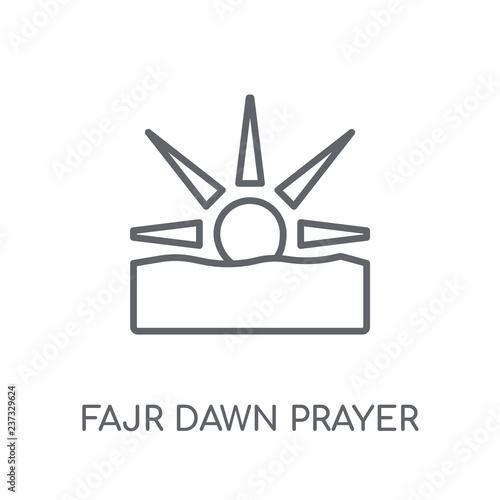 Fajr dawn Prayer linear icon  Modern outline Fajr dawn Prayer logo