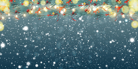 Fotomurales - Abstract Christmas background with light garlands, fir branches, snowflakes and place for text. Festive sparkling colorful, golden luminous background with falling snow. Vector illustration.