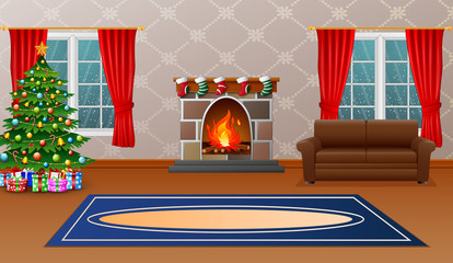 Christmas living room with fireplace, armchair, tree and presents