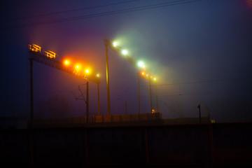 railway spotlight at night