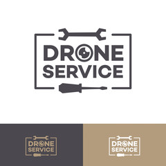 Set of drone service logo isolated on background fordrone flying club label, quadrocopter badge and design element. Vector 10 eps