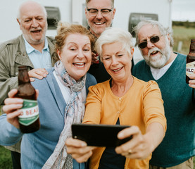Happy seniors taking a selfie