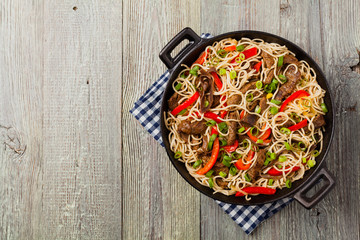 Chinese pasta with beef. Prepared in wok.
