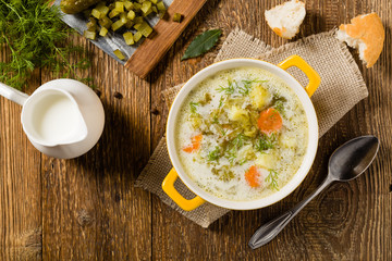 Traditional cucumber soup with pickled cucumbers.