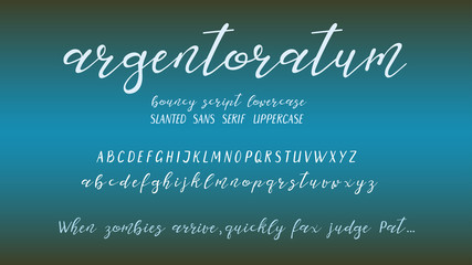 Hand-drawn font elements. Bouncy scripts lowercase and slanted sans serif uppercase letters.