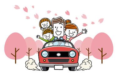 家族で春のドライブ