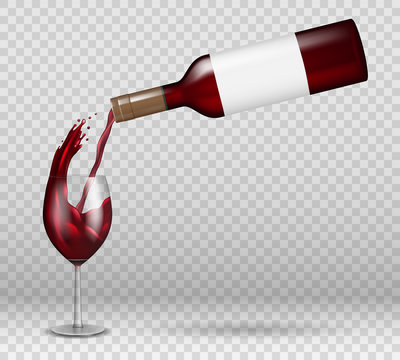 Transparent wine bottle and wineglass mockup with reflection. red wine liquid pouring down with splash in glass isolated. alcohol drink with drops Vector illustration.