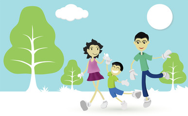 Fun of family trip to nature concept. Parents and children walk happily in the winter.
