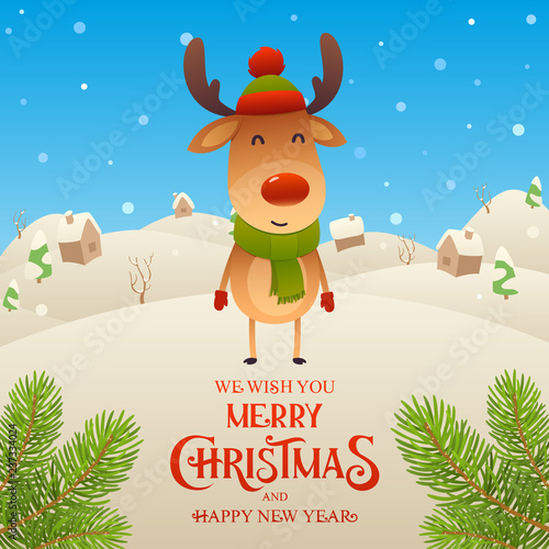 cute cartoon reindeer character merry christmas and happy new year background