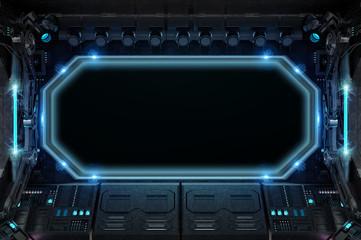 Fototapete - Dark spaceship interior with large window view 3D rendering