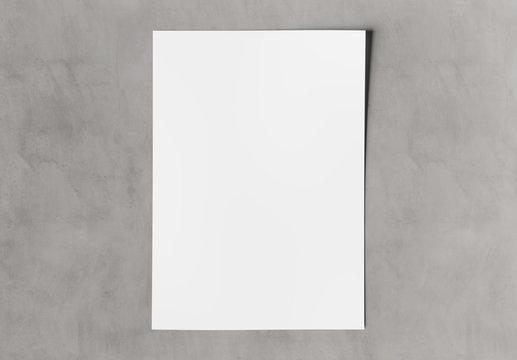 A4 blank paper sheet mockup on concrete 3D rendering