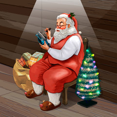 Hand drawn Santa Claus making Christmas presents for kids at his workshop