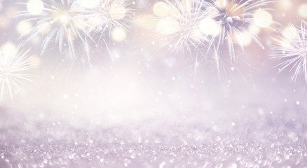 Fototapete - Fireworks and bokeh in New Year eve and copy space. Abstract background holiday.