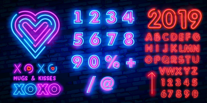 xoxo neon font icon. National Hug Day Vector IllustrationText typography decoration and advertising theme. Colorful design. Vector illustration