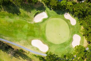 ゴルフ場を上から見た風景
