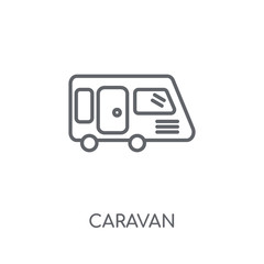 Caravan linear icon. Modern outline Caravan logo concept on white background from Transportation collection