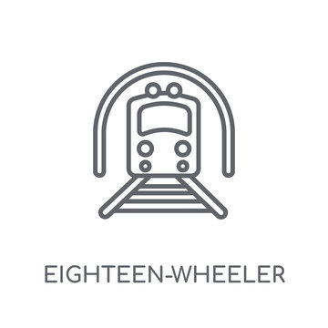 eighteen-wheeler linear icon. Modern outline eighteen-wheeler logo concept on white background from Transportation collection