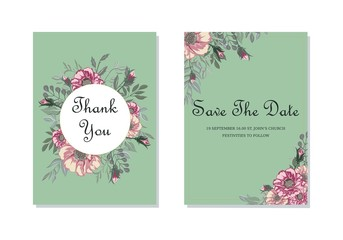 Wedding invitations, floral card template, vintage exquisite card design with flowers chic decorative pattern.