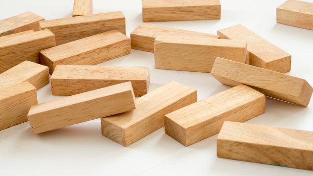 wood block on white background
