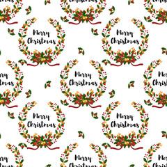 Christmas wreath seamless pattern.