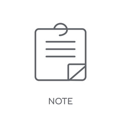 Note linear icon. Modern outline Note logo concept on white background from User Interface and Web Navigation collection