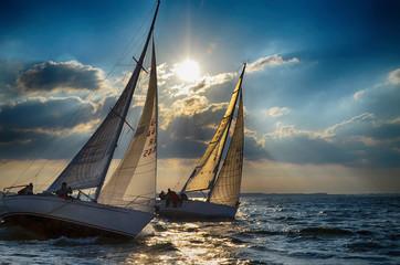 Segelyachten bei Gegenlicht