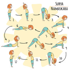 Cute yoga kid. Surya Namaskar