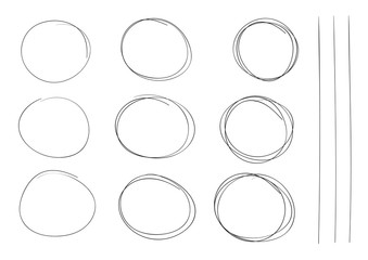 hand drawing rounds set vector