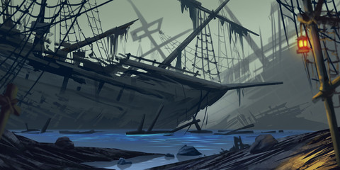 Stranded Ship. Ghost Ship. Fiction Backdrop. Concept Art. Realistic Illustration. Video Game Digital CG Artwork. Nature Scenery.