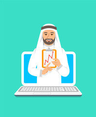 Online business coaching concept. Vector flat illustration. Young arab man business coach on computer monitor holds graphic of money growth. Business training on internet. Marketing strategy