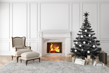 Black christmas tree in classic interior with fireplace, lounge armchair, carpet, gifts and wall panels. 3d render illustration mock up.