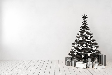 Black christmas tree in room, blank white wall, gifts. 3d render illustration mockup.