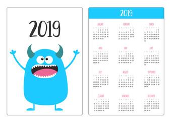 Pocket calendar 2019 year. Week starts Sunday. Blue monster icon. Cute funny cartoon kawaii baby character. White background. Flat design.