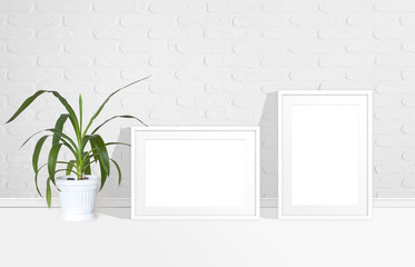 Two blank photo frames near white bricks wall and yucca plant in flower pot