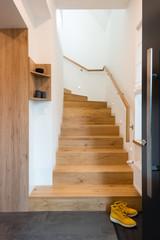 Wooden stairway in modern house
