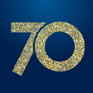 70 th years old logotype. Isolated golden color abstract dot graphic symbol of 70%. Shiny straight elegant cut label design template. Round shape digits, up to -70 % percent off sign. Discount emblem.
