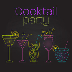 Simple line style cocktails on black background