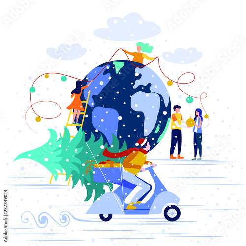 hello winter banner vector illustration small people are preparing for the new year are