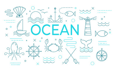Ocean theme banner with thin line icons.