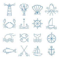 Set of nautical icons in modern thin line style.