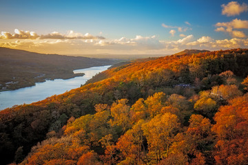 View of autumn landscape of Llanberis and Llyn Padarn in Wales, Uk.