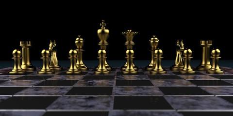 Goldene Schachfiguren auf einem Schachbrett