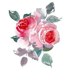 Vintage flower overwhite background. Wedding flowers bundle. Flower of watercolor detailed hand drawn roses.