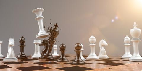 Dame setzt den König Schachmatt