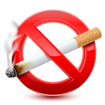 Forbidden no smoking red sign, isolated on  white background. Vector Illustration