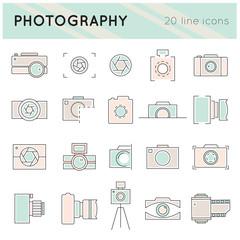 Photography line icons set