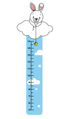 child wall meter. rabbit in a cloud catching stars