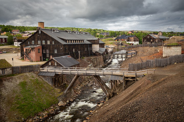 Smelting house and river Hyttelva in mining town Roros.